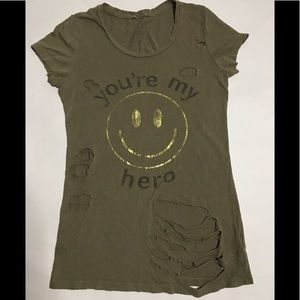 Forever 21 Ripped Tee Shirt Size S/P